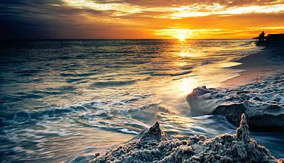 Art Print featuring the photograph Sandcastle Sunset Beach-destin Florida Orange Sea Shore Art by Eszra