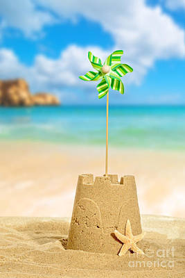 Sandcastles Photograph - Sandcastle With Pinwheel by Amanda Elwell