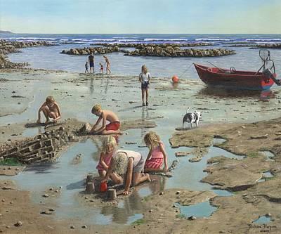 Cornwall Painting - Sandcastles by Richard Harpum