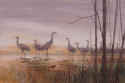 Wall Art - Painting - Sandhill Lineup by Floy Zittin