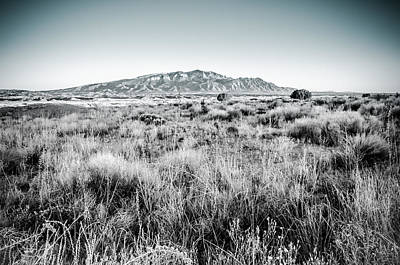 Photograph - Sandia Mountains At Sunset In Black And White by Anthony Doudt