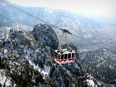 Sandia Tram Above The Snowy Peaks Art Print