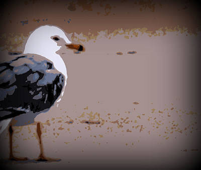 Sandpiper Digital Art - Sandpiper Off Center by Laurie Pike