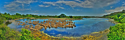 Print featuring the photograph Sandpiper Pond Panorama by Ed Roberts