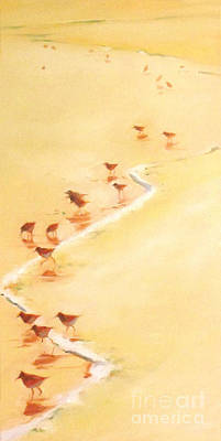 Sandpiper Painting - Sandpiper Promenage by Mary Hubley