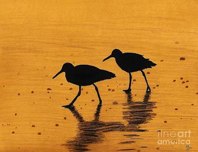 Drawing - Sandpipers - At - Sunrise by D Hackett