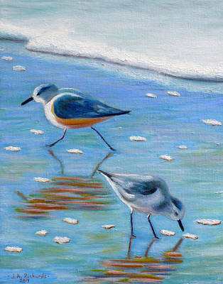 Laguna Beach Painting - Shore Birds by Jennifer Richards