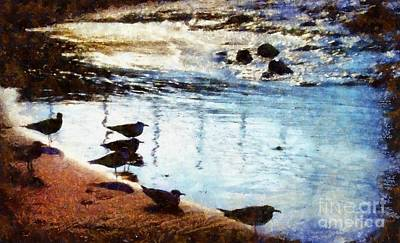 Photograph - Sandpipers At The Shore by Janine Riley