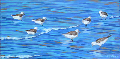 Sandpipers In The Surf Original by Elisabeth Olver