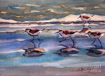 Sandpipers Running In Beach Shade 3-10-15 Art Print