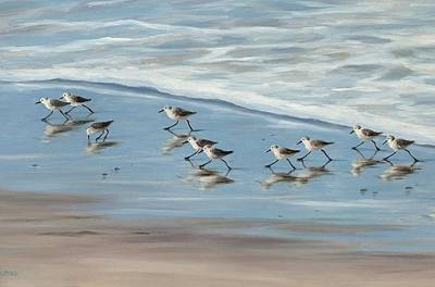 Sandpipers Art Print by Tina Obrien