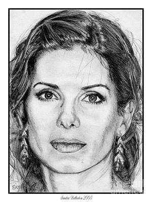 Greyscale Drawing - Sandra Bullock In 2005 by J McCombie
