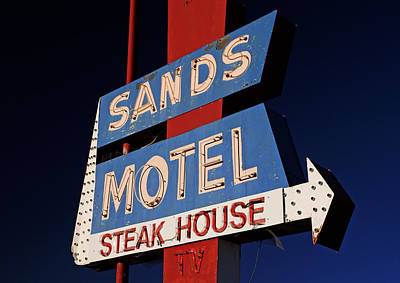 Photograph - Sands Motel Neon by Daniel Woodrum
