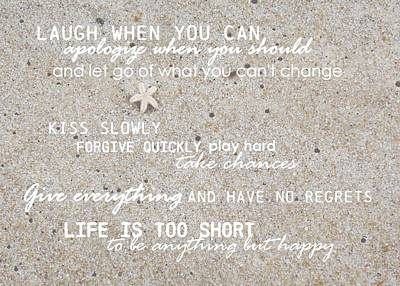 Sands Of Happiness Quote Print by JAMART Photography