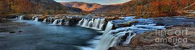 Photograph - Sandstone Falls Fall Foliage Panorma by Adam Jewell