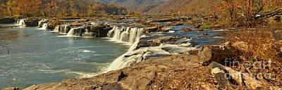 Photograph - Sandstone Falls Fall Panorama by Adam Jewell
