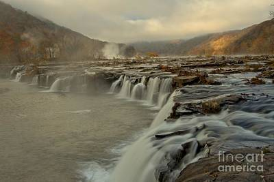Photograph - Sandstone Falls Foggy Sunrise by Adam Jewell