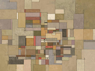 Rectangular Painting - Sandstone Strata Abstract Art by Karyn Lewis Bonfiglio