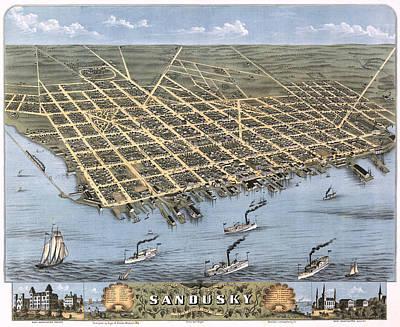 Steamboat Photograph - Sandusky Ohio 1870 Map by Stephen Stookey