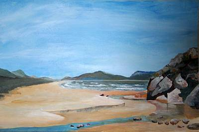 Painting - Sandy Beach And Rock Pool by Taiche Acrylic Art