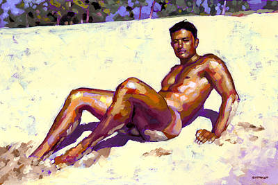 Naked Man Painting - Sandy Bottom by Douglas Simonson