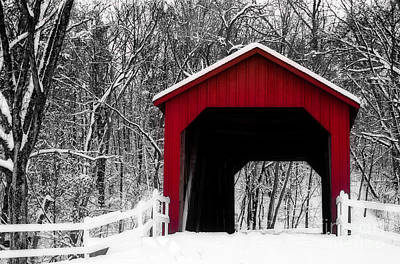 Photograph - Sandy Creek Cover Bridge With A Touch Of Red by Peggy Franz