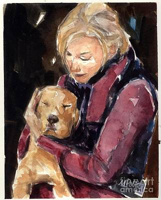 Dog Rescue Painting - Sandy Grace And Me by Molly Poole