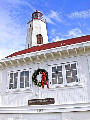 Photograph - Sandy Hook Lighthouse At Christmas by Gary Slawsky