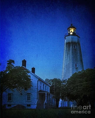Print featuring the photograph Sandy Hook Lighthouse At Twilight by Debra Fedchin