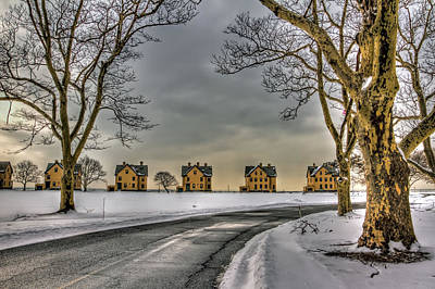 Base Path Photograph - Sandy Hook Officers Row In Snow by Geraldine Scull