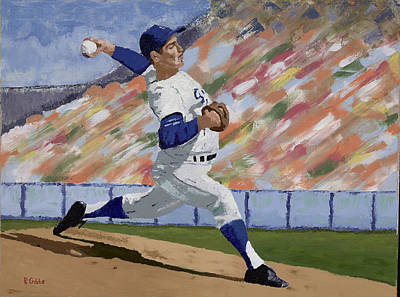 Sandy Koufax Art Print by Ron Gibbs