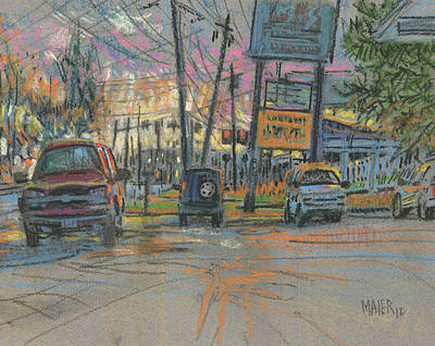 Sunset Drawing - Sandy Plains Crossing by Donald Maier