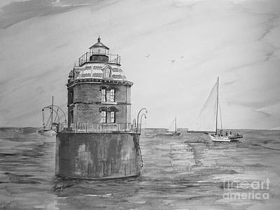 Lighthouse And Sailboat Painting - Sandy Point In Gray  by Nancy Patterson