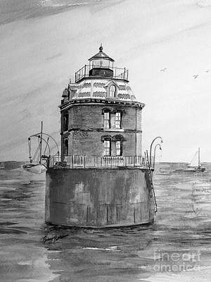 Lighthouse And Sailboat Painting - Sandy Point Light In Gray  by Nancy Patterson