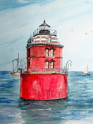 Painting - Sandy Point Light  by Nancy Patterson