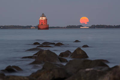 Sandy Point Lighthouse Moonrise Art Print by Jennifer Casey