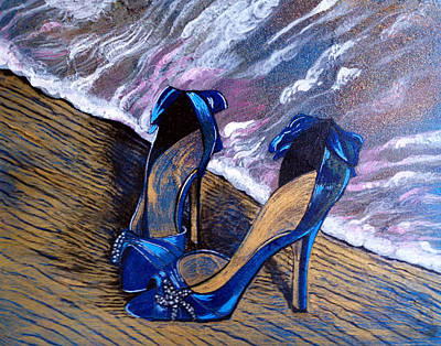 Fancy Shoes Painting - Sandy Shoes by Deb Wolf