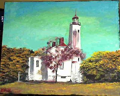 Sandyhook Light House Art Print by M Bhatt