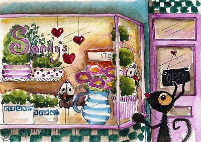 Store Fronts Painting - Sandy's Floral Shop by Lucia Stewart
