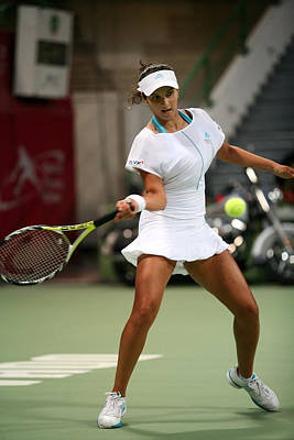 Women Tennis Photograph - Sania Mirza On The Ball In Doha by Paul Cowan