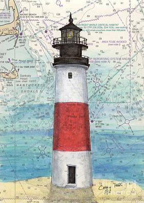 Cape Cod Painting - Sankaty Head Lighthouse Ma Nautical Chart Map Art by Cathy Peek