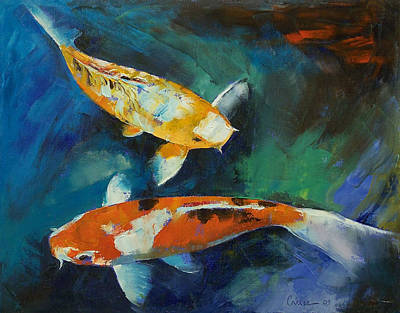 Pond Painting - Sanke Koi Painting by Michael Creese