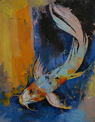 Dragon Painting - Sanshoku Koi by Michael Creese