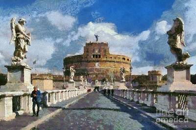 Painting - Sant Angelo Castle In Rome by George Atsametakis