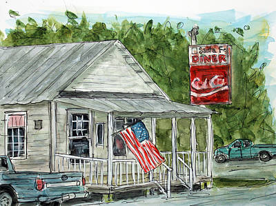 Nashville Tennessee Painting - Santa Fe Diner by Tim Ross