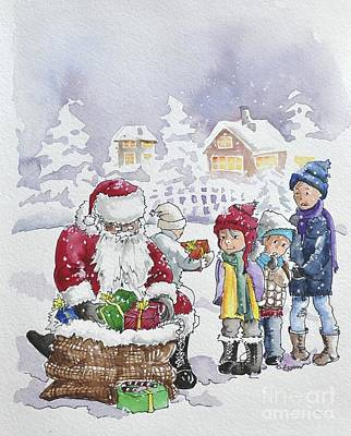 Painting - Santa And Children by Gertrudes  Asplund