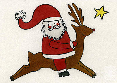 Santa And Raindeer Art Print by Norma Appleton