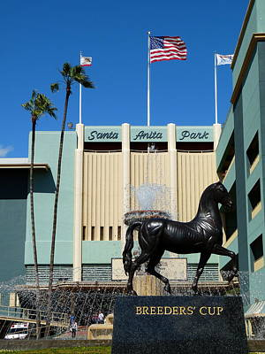 Photograph - Santa Anita Main Entrance Flag John Henry by Jeff Lowe