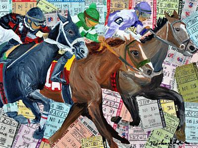 Jockey Mixed Media - Santa Anita by Michael Lee