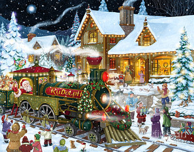 Digital Art - Santa Arrives In Rudolph Train by Randy Wollenmann